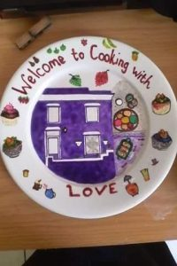 Purple house Bo-Kaap, hand painted on a plate