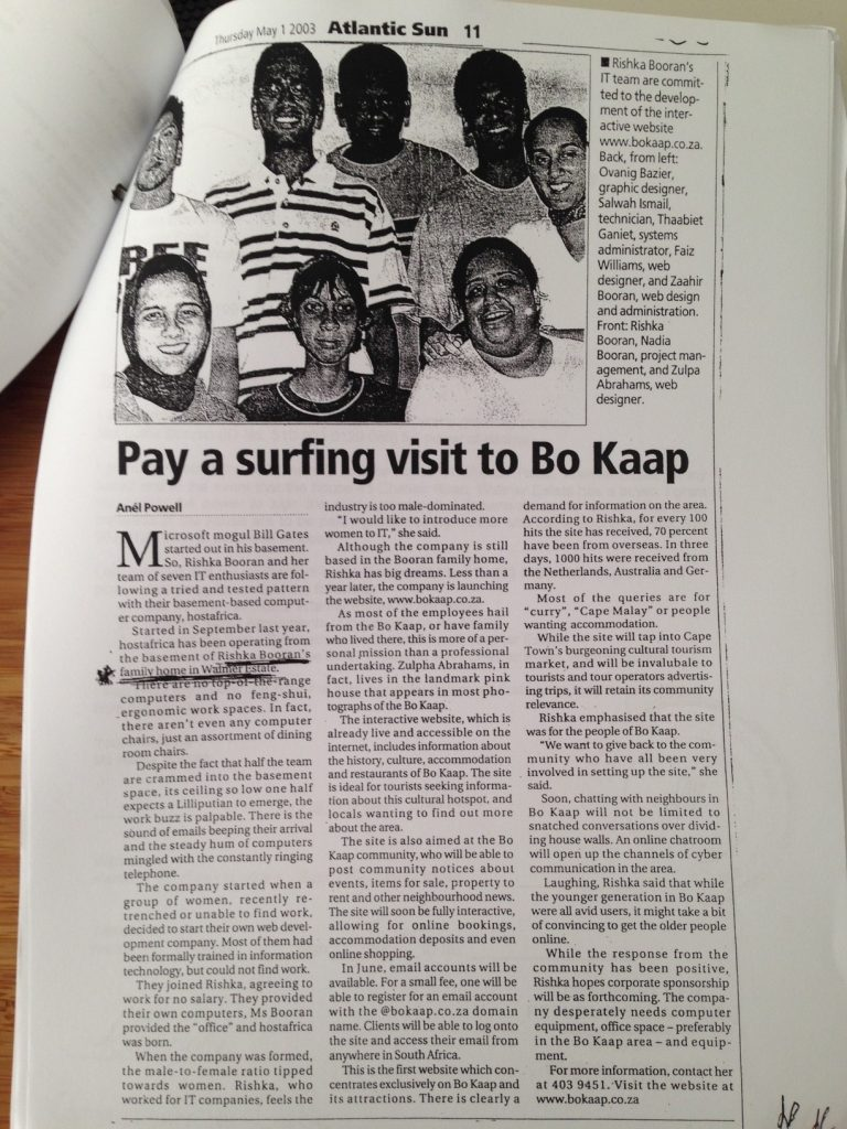 Bo-kaap ideas Start up in 2003